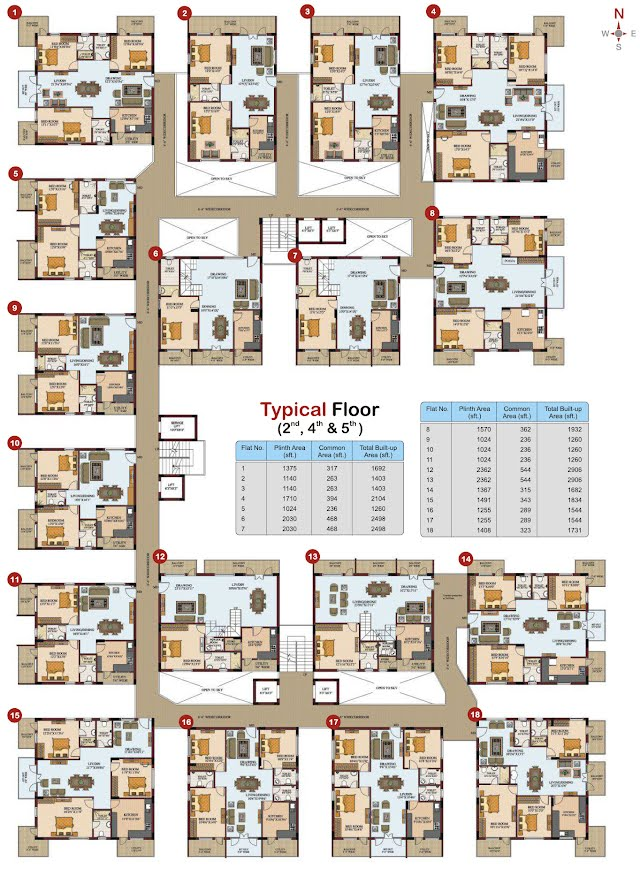 Silpa Hilltop Floor Plan - Typical Floor 1